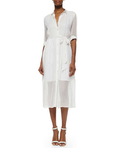 Maia Belted Voile Shirtdress, Ivory