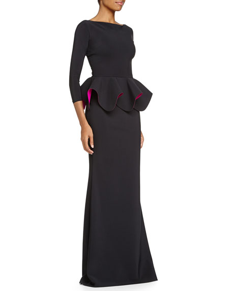 Bateau-Neck Ponte Peplum Gown, Black