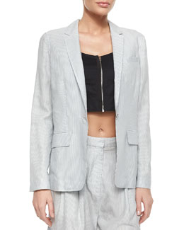 Chatham Striped One-Button Blazer