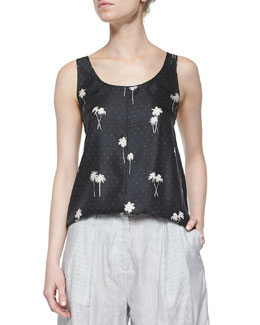Natalie Sleeveless Palm Tree Printed Top
