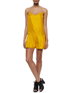 Dropped-Waist Solid Dune Short Romper