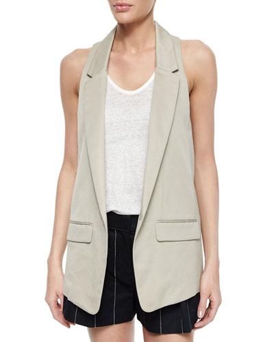 Ines One-Button Vest, Beige