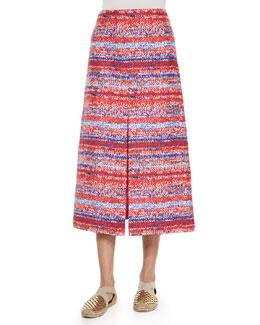 Yarn-Dyed Soft Silk Midi Skirt