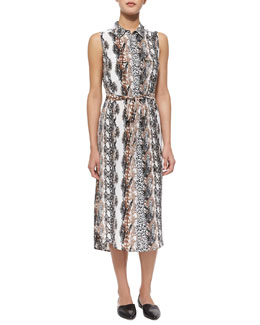 Tegan Silk Animal-Print Shirtdress, White/Multicolor