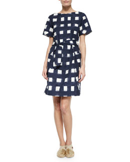 Tie-Front Poplin Square Dress, Navy/White
