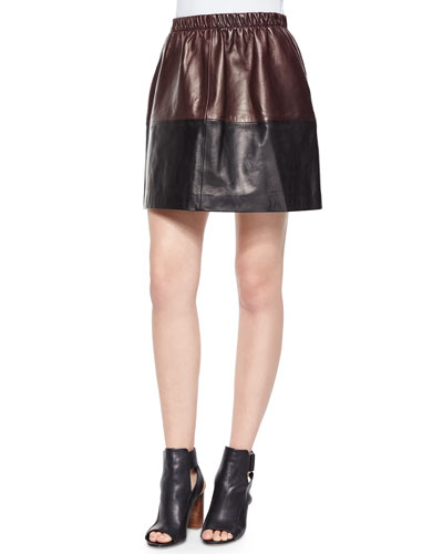 Two-Tone Leather Skirt