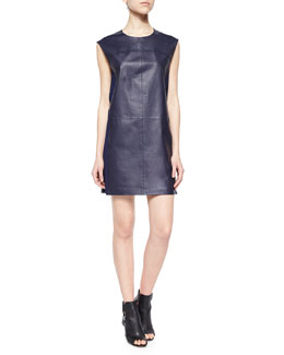 Sleeveless Leather Shift Dress