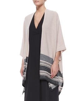 Striped-Hem Knit Poncho Cardigan
