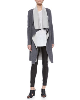 Draped Two-Tone Cardigan