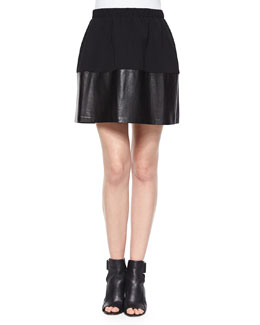 Jersey/Leather Pleated Skirt