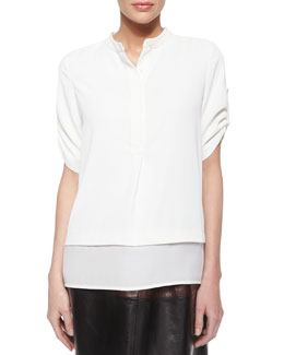Silk Layered-Hem Top, Off-White