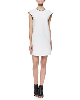 Leather-Trim Shift Dress