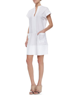 Cuffed-Sleeve Stretch Poplin Dress