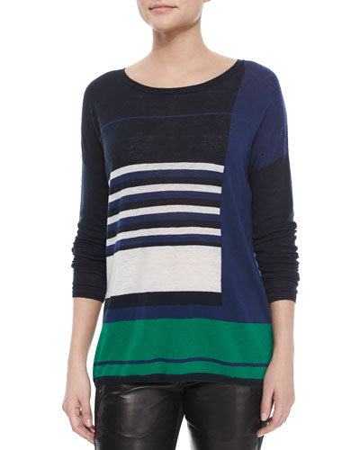 Mixed-Stripe Knit Sweater