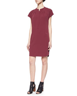 Cap-Sleeve Silk-Trim Shirtdress