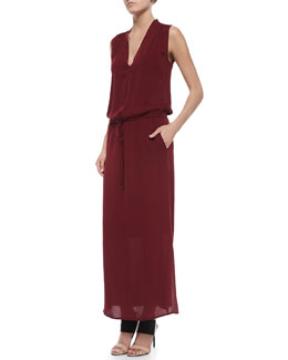 Sleeveless V-Neck Maxi Dress