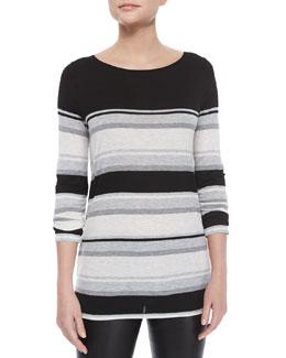 Long-Sleeve Mixed-Stripe Slub Tee