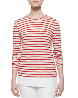 Striped Linen Jersey Tee, Red/White/Pink