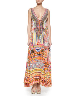 Through Threads Mixed-Print Maxi Dress