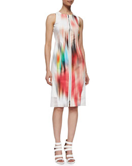 Davis Blur-Print Sleeveless Sheath Dress