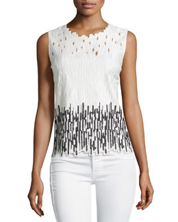 Ashley Sleeveless Embroidered Blouse