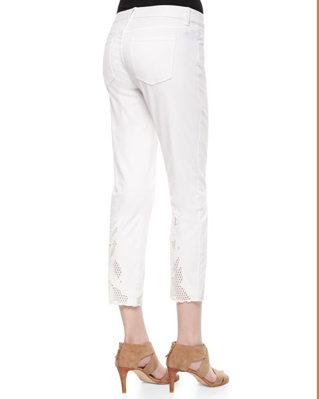 Mona Eyelet-Hem Ankle Jeans