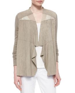 Sarena Suede-Knit Combo Jacket