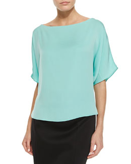 Stretch Silk Crepe Top, Mint