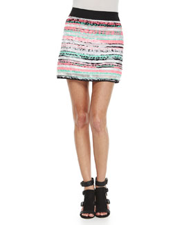 Couture Illusion Striped Mini Skirt
