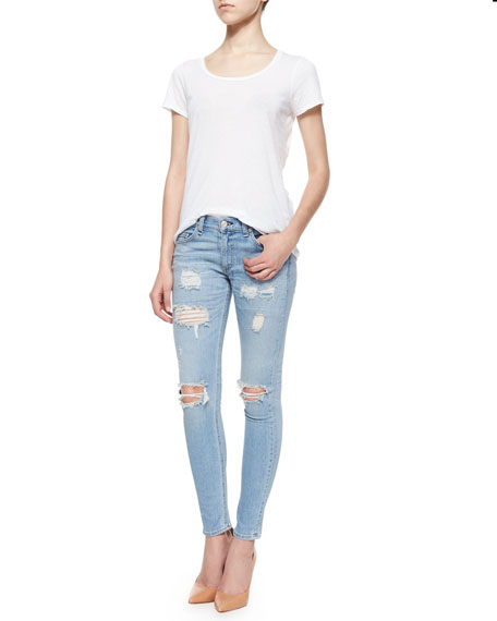 Distressed Skinny Ankle Jeans, Munoz