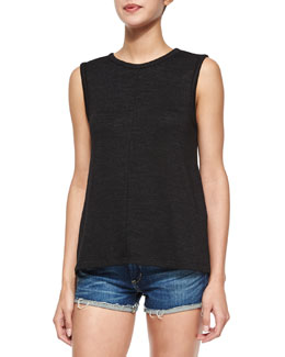 Nicole Sleeveless Overlay-Back Tank, Black