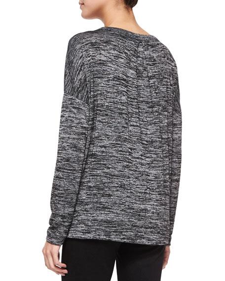 Giada Long-Sleeve Slub-Knit Tee, Black/Heather Gray