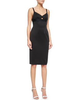 Cutout Tech-Stretch Sheath Dress, Black