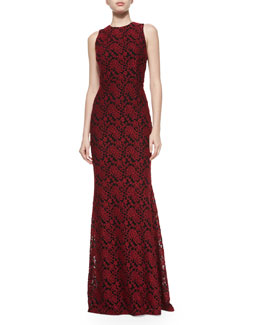 Roxie Lace Diamond-Back Dress, Red