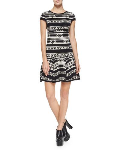 Darby Drop-Waist Geo-Knit Dress