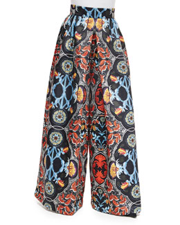 Baroque-Print High-Waist Pants