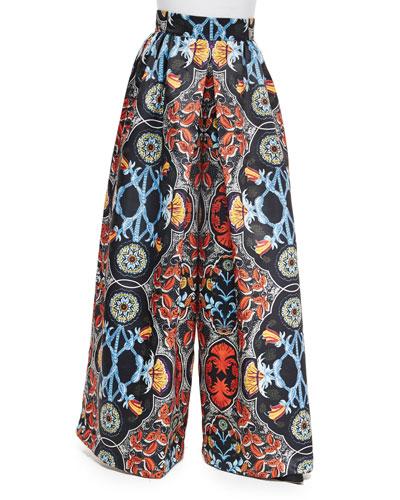 Baroque-Print High-Waist Pants