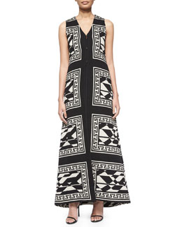 Angelica Geometric-Print Long Vest