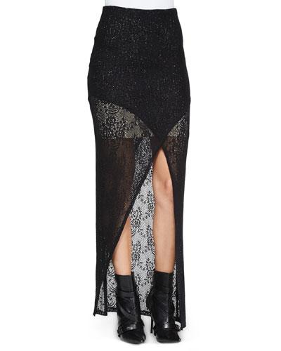Rhett Cutaway Lace Maxi Skirt, Black