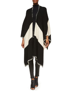 Kamala Chevron Open-Front Cape, Black/Cream
