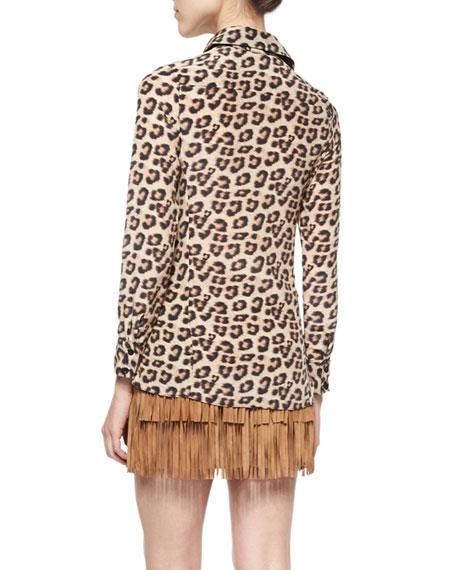 Leopard-Print Silk Top
