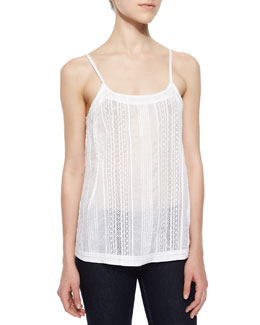 Centeria Embroidered Cotton Tank, White