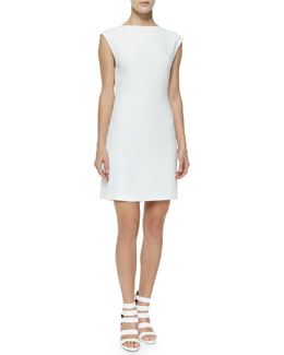 Mystsra Cap-Sleeve Crepe Dress, Off White