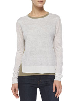 Mayolee Two-Tone Sag Harbor Sweater, Light Clay/White