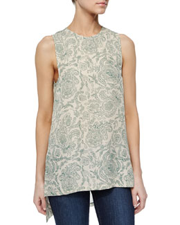 Sharlia Sleeveless Paisley Top, Sand/Jade