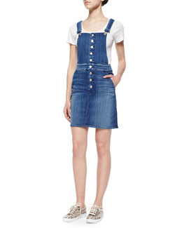 Denim Button-Front Overall Skirt
