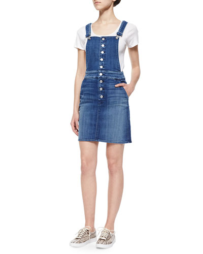 Denim Button-Front Overall Skirt