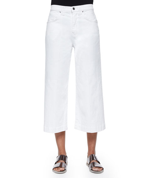7 For All Mankind Wide-Leg Denim Culottes, Runaway
