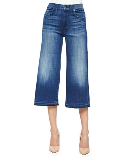 Denim Culottes w/ Raw-Edge Hem, Medium Broken Twill
