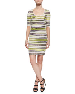 Half-Sleeve Pebble-Striped Dress
